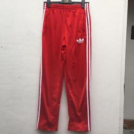 Adidas red firebird tracksuit bottoms size xs