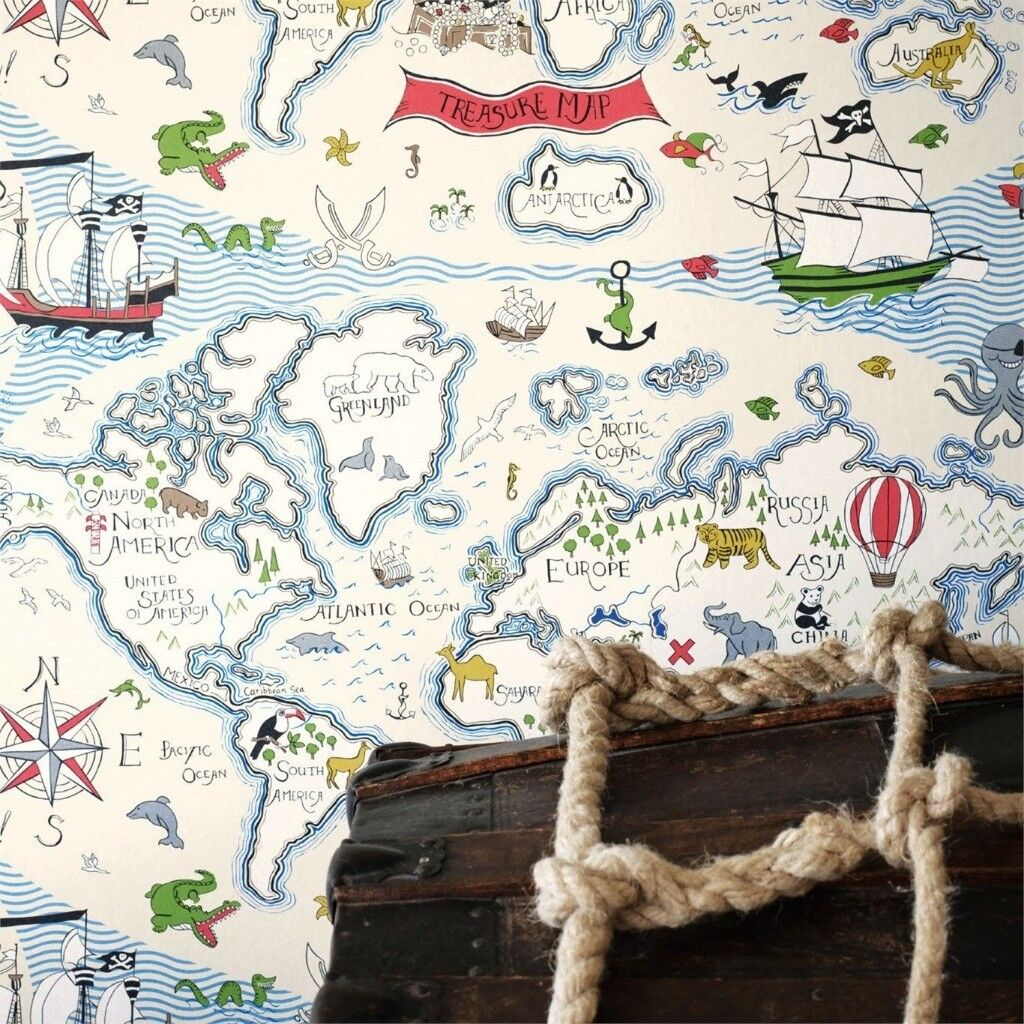 Designer sanderson treasure map wallpaper 2 rolls from john lewis designer sanderson treasure map wallpaper 2 rolls from john lewis gumiabroncs Image collections