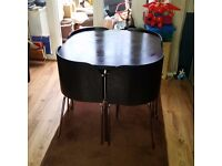 Ikea Fusion Space Saving Square Dining Kitchen Table Black Wood, Chrome and Vinyl