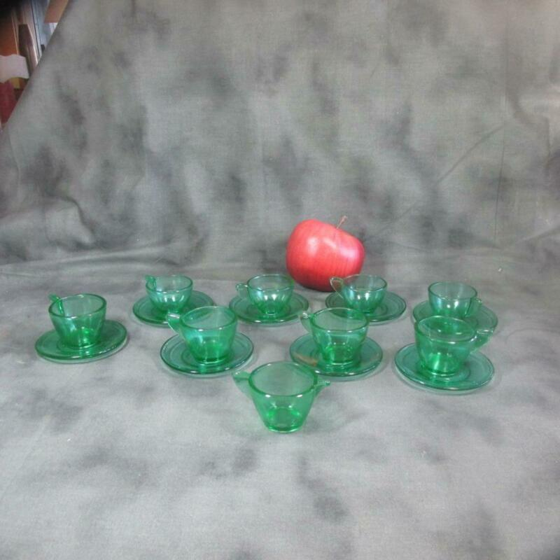 Akro Agate Doll Tea Set Green, 8 Cups & Saucers with Pitcher
