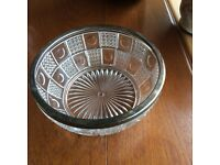 Cut glass fruit or food bowl with silver plated rim