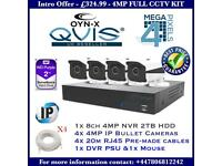 8 Channel NVR with 4x 4MP IP Bullet Cameras Full CCTV Kit