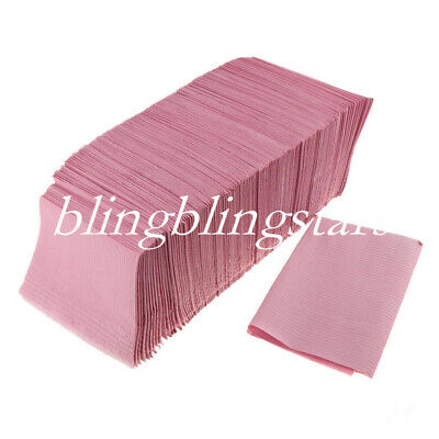 1 Bag Dental Disposable Bib 2 Paper +1 Poly Medical Spa Towel Patient Pink Color