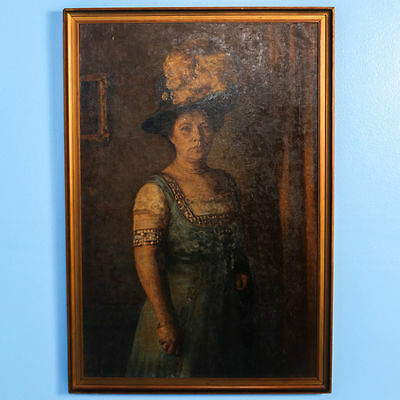 Original Oil on Canvas Portrait,Standing Woman with Hat & Feather, Signed