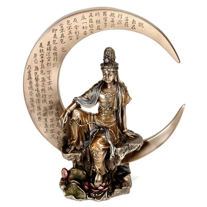 "KWAN YIN on CRESCENT MOON STATUE 8.25"" Buddhist Goddess Bronze Resin Quan Guan"