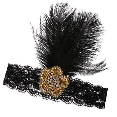 Lace Hairband Großes Stirnband mit Vintage Feder 1920er Kopfstück Flapper