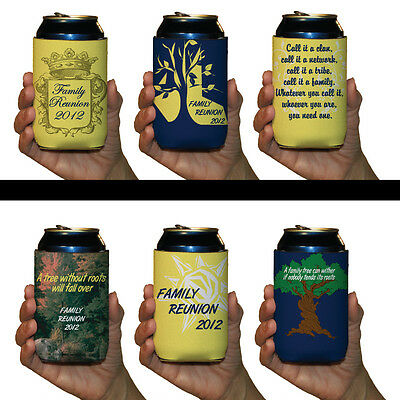 Family Reunion Themed Koozies Dated (Set of 6 Different Designs) - Family Reunion Themes