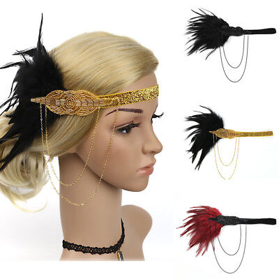 1X Flapper Feather Headband 20s Accessories Crystal Beaded Wedding Headpiece - Beaded Flapper Headpiece