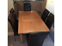 Price drop! Barely used, forced sale! Solid oak table & 6 brown leather chairs, excellent condition!