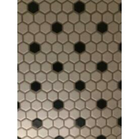 Black and White Honeycomb Mosaic tiles