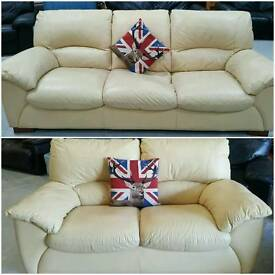 Leather cream 3 and 2 seater sofas in vgc can deliver 07808222995