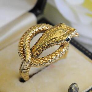 VINTAGE 9CT GOLD SNAKE SERPENT RING