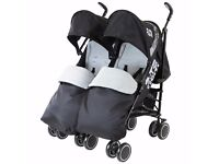 ZETA CITI TWIN STROLLER BUGGY with foot muffs & raincover