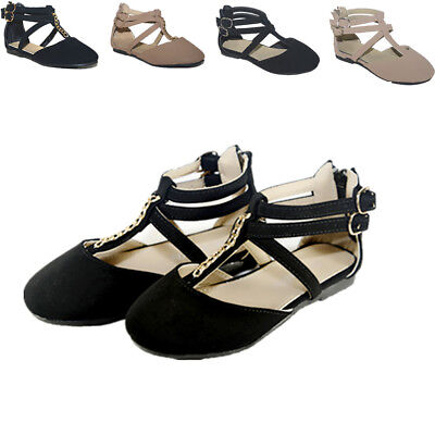 New Girls Flats Casual Ballet Ankle Strap Back Zipper Black,Taupe Dress Shoes - Girls Black Ballet Flats