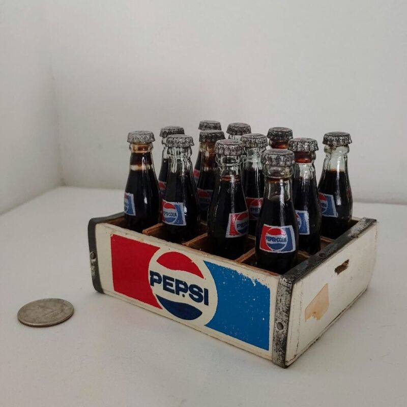 WOOD CRATE OF 12 MINIATURE PEPSI COLA GLASS BOTTLES