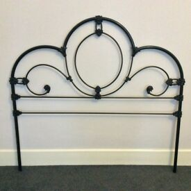 """** FRENCH ANTIQUE STYLE BLACK METAL 4.6"""" DOUBLE HEADBOARD VGC **"""