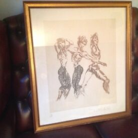 Antique Ltd Edition Art Framed Sketch Drawing Picture