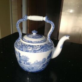 Large Spode blue and white kettle REDUCED PRICE!!!
