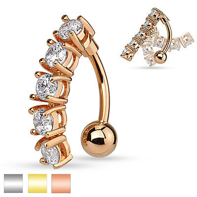 14k Gold Ball Closure Ring (5 CZ Vertical Drop 14K Gold Plated Rose Surgical Steel Navel Belly Ring 14g)