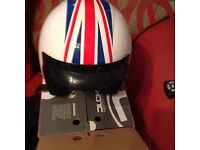 Scooter helmet for sale this has never been worn still in box white with open face and Union Jack.