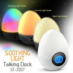 Egg Travel Bedside Alarm Clock Snooze Temperature Talking Light Hourly Chime