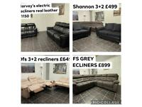 Ex display corner settees and 32 sofa sets recliners