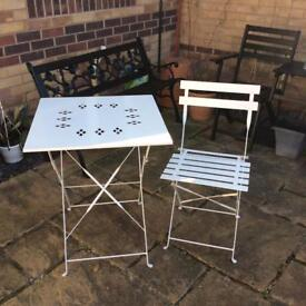 Metal fold up table and chair £15