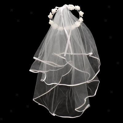 Brautschleier mit Blumen Haarkranz für Hochzeit und Hen Party ()