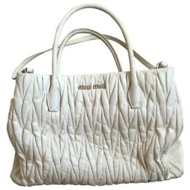 Selfridges Rrp 1495 Miu Prada Matelasse Large Ivory Leather Across Body Bag Christmas Gift