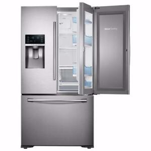 "*FLOOR MODEL*Samsung 35.8"" 22.5 Cu. Ft. French Door Counter Depth Refrigerator - Stainless Steel Model # RF23HTEDBSR"