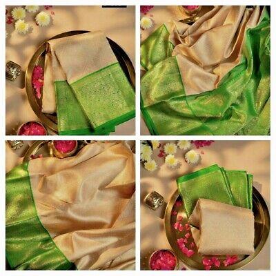 Indian silk saree Wedding Designer pakistani ethnic Party Kanchipuram green Sari