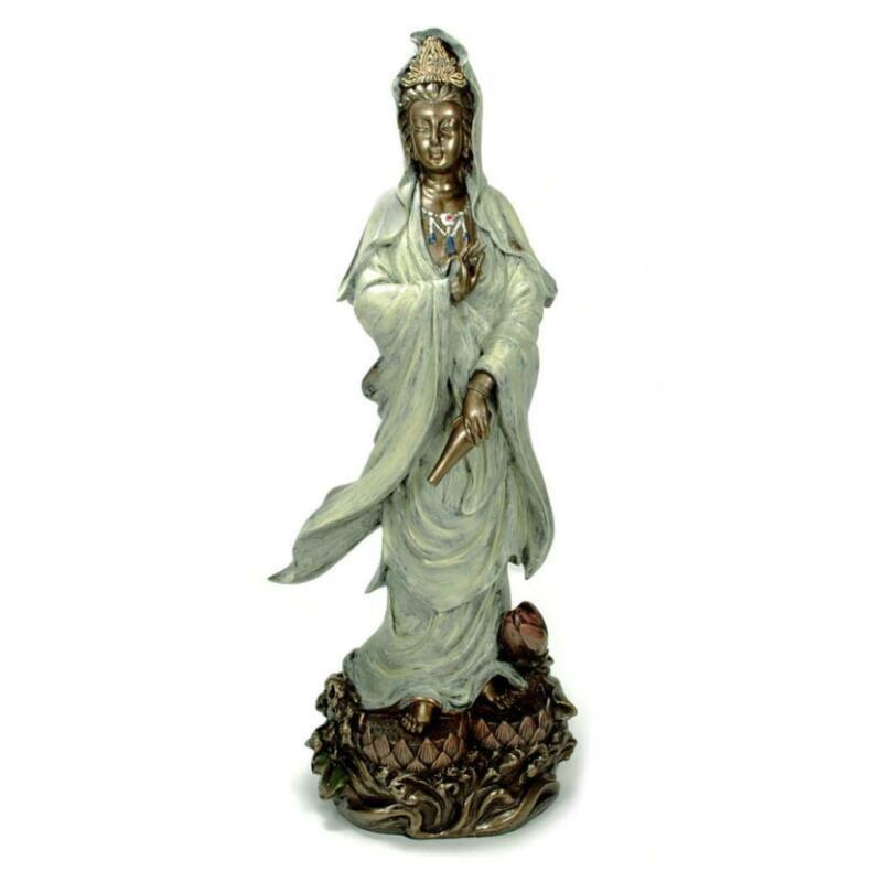 """KWAN YIN LOTUS STATUE 12.5"""" Quan Yin Guan Goddess Buddha Quality Bronze Resin"""