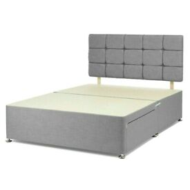 Instant Delivery Grey Bed Mattress Matching Button Headboard Single Double King Superking