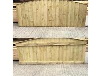 🌳 Close Board Feather Edge Tanalised Wooden Bow Top Fence Panels