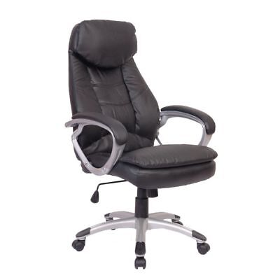 Vidaxl Office Chair Modern Black Leather Upholstery Executive Seats Furniture