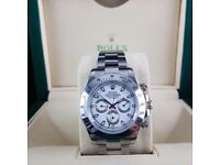 Silver White face Rokex Daytona comes rolex baggef and boxed with papetwork