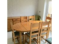 Barker and Stonehouse Oak Dining Table With 6 Chairs and Sideboard