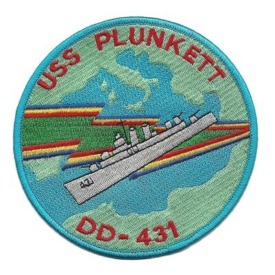 USS PLUNKETT DD-431 Gleaves-class Destroyer Ship Military Patch