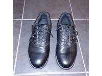 Woodworm branded Black leather look golf shoes size 8