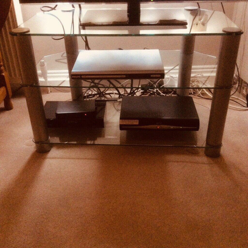Glass TV table W81cm x D45cm x H51cm with silver legs