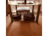 Glass TV table W81cm x D45cm x H51cm with silver legs