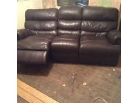 BROWN LEATHER RECLINER SOFAS FOR SALE -VERY GOOD CONDITION MUST GO- FREE DELIVERY SOME AREAS - £375