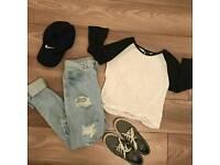 Nikie Cap, grey Nikie training shoe, 3/4 sleeve shirt, boyfriend's Jean