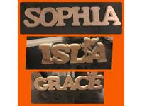 Handmade to order wooden children's name plates and wall hangings and ornaments