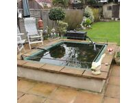 Large fibre glass fish pond, pump and filter system
