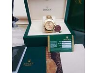 New Mens boxed gold strap rolex daytona with with gold face sweeping automatic movement scratch