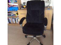 Black plush fabric executive office chair