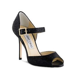 Jimmy Choo 'Lace' black glitter peep toe heels sandals shoes - Size 4 / 37