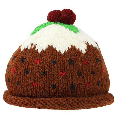 CHRISTMAS PUDDING HAT XMAS PUD BOBBLE BEANIE WOOL KNIT FLEECE LINED