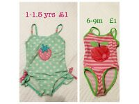 Baby girl swimsuits 6-9m and 1-1.5 years